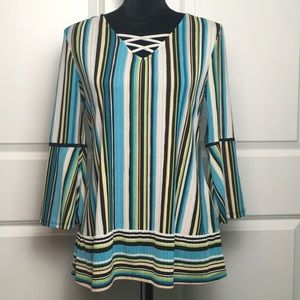 Dana Buchman Striped Blouse with Bell Sleeves